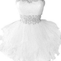 Sunvary Cute Sweety 16 Cocktail Homecoming Dress Evening Dress Mini - US Size 2- White