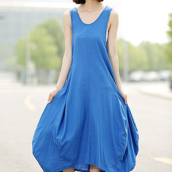 Blue Vest Linen Dress - Casual Everyday Long Maxi Dress with Bud Skirt Handmade Made-to-Measure Summer Fashion C355