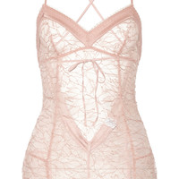 Madame Aime Café de Flore satin-trimmed lace bodysuit – 55% at THE OUTNET.COM