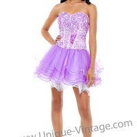 Lilac & White Sequins & Layered Tulle Corset Lace Up Homecoming Dress