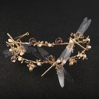 Gold Dragonfly Baroque Wedding Tiara Cosplay Crown