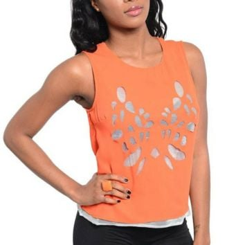 Orange Laser Cut Top