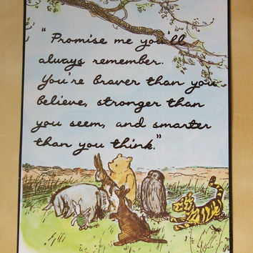 Classic Winnie the Pooh Quote Print A5 You Are Braver Than You Believe