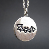 Bat Necklace - Fly by Night Necklace - Reversible Sterling Silver Bat Pendant