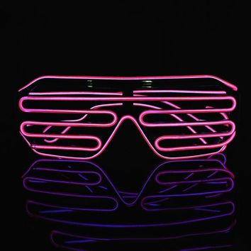 Cold Wire Neon LED Light Up Shutter Shaped Glasses for Costume Party Red+Black