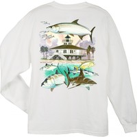 Guy Harvey Boca Grande Lighthouse Long Sleeve Back-Print T-Shirt