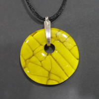 Mustard Yellow Necklace, Autumn Fashion, Fused Glass Jewelry, Handcrafted Statement Jewelry - Autumn Harvest - 4591-5