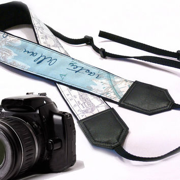 DSLR / SLR Camera Strap. World Map Camera Strap. Vintage Camera Strap. For Sony, canon, nikon, panasonic, fuji and other cameras.