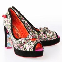 Irregular Choice Excuse Me Miss Heel Shoes - Black/Flowered - Punk.com