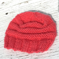 Coral Hat, Knit Hats Women, Ribbed Knit,