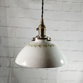 Handcrafted Pottery Hanging Pendant Light with Hand Stamped Design