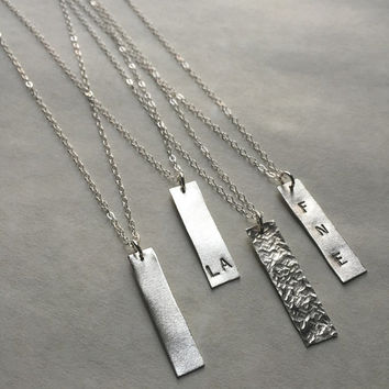 Vertical Bar Necklace, Initial Necklace, Personalize, Monogram Necklace, Rectangle Necklace, Lightweight, Silver Layering Necklace,Metalwork
