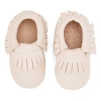Stone Leather Fringe Baby Moccasins