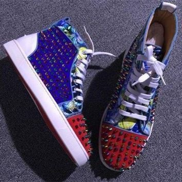 DCCK Cl Christian Louboutin Louis Spikes Style #1886 Sneakers Fashion Shoes