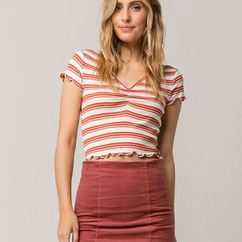 SKY AND SPARROW Stripe Cinch Front Rust Womens Tee