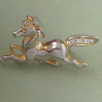 Rhinestone Horse Brooch, Vintage Attwood and Sawyer, Designer Signed A&S, Galloping Horse Pin, Figural Costume Jewelry