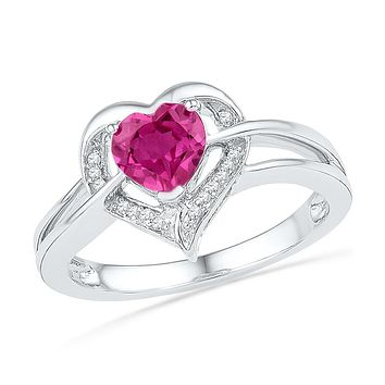 Sterling Silver Womens Round Lab-Created Pink Sapphire Heart Diamond Ring 1-1/8 Cttw