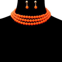 "5"" orange bead 3 row choker collar bib necklace .50"" earrings chunky"