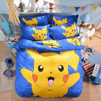 Pokemon Minnie Bedding Set Pikachu Printed Duvet Cover Cartoon for Kids Bed Set Comfortable Multi Sizes 3/4pcs Bedclothes