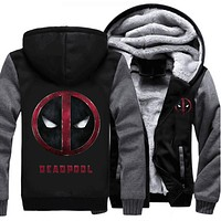 Drop shipping USA size DEADPOOL Zipper Jacket Men Women Sweatshirts Pullover Thicken Fleece Hoodie Coat