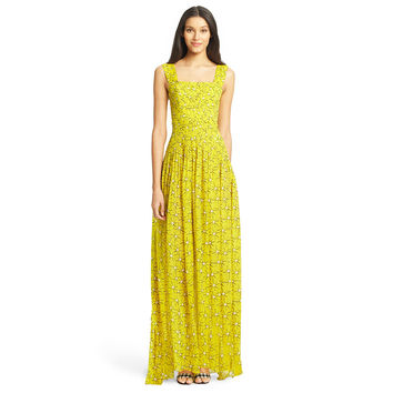 Printed Square Neck Sleeveless Sheath Pleated Maxi Dress