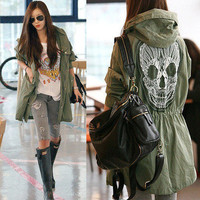 Womens Military Punk Lace Back Skull Oversized Parka Hooded Jackets Trench Coats