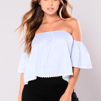 Gibson Off Shoulder Top - Blue