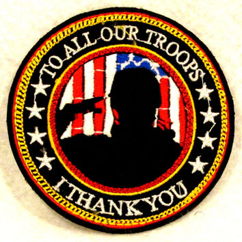 To all our troops I thank you Small Badge Patch for Biker Vest SB799