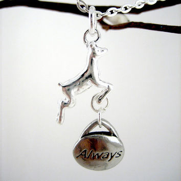 Snape and Lily Always Necklace Leaping Silver by WolfbirdStudios