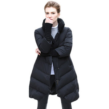 Fashion Three Quarter Stand Collar Medium-long Women's Down Jacket Winter 2017 New Arrival Zipper Winter's Coats Female Y2202