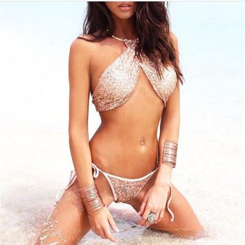 Sexy Bikini Bandage Swimwear Women Bling Sequin Bikinis Set Solid Swimsuit Bathing