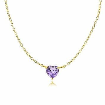 Dainty Amethyst Small Heart Choker Necklace in Gold Plated Sterling Silver