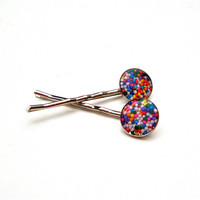 Cupcake sprinkles candy bobby pins - cute colorful hairpins - candy hair accessories - fun bobby pins by Sparkle City Jewelry