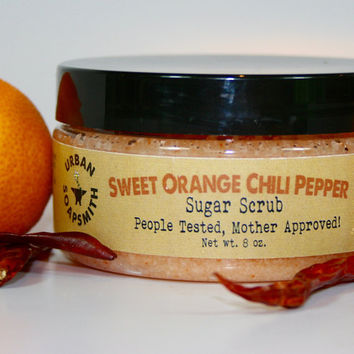 Orange Chili Pepper Sugar Scrub, Emulsified Sugar Scrub, Scrub, Body Polish, Body Scrub