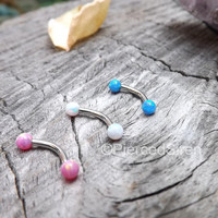 "16g Rook curved barbell opal ends stainless steel 5/16"" pink white blue opals 3mm ball ends cartilage rook earring high polish snug jewelry"