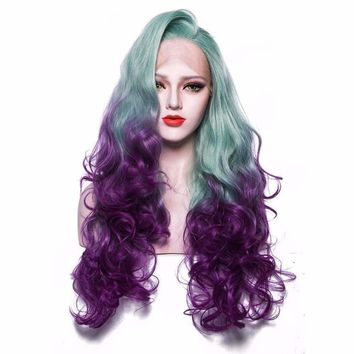 Ombre Synthetic Lace Front Wig Green to Purple Wigs 26inches