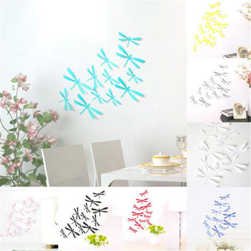 Hot Home Decor 12pcs 3D DIY Decor Dragonfly Home Party Wall Stickers PVC Art Decal 8 Colors Beautiful Wall Sticker Free Shipping