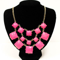 Squared Statement Necklace in Hot Pink