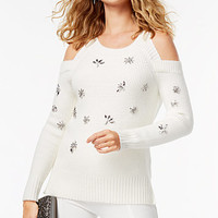 INC International Concepts Embellished Cold-Shoulder Sweater, Created for Macy's | macys.com