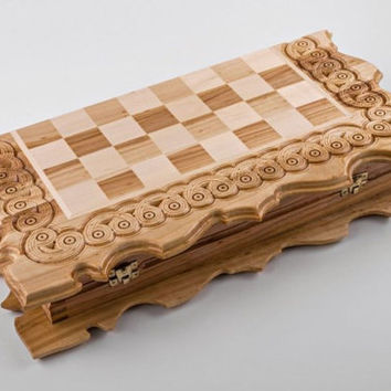 Set of Games, Unique Chess Set, Wooden Backgammon, Chess Board, Wood Checkers, Backgammon Pieces, Checker Board, Chess Pieces, Unique Gifts
