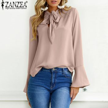 New 2018 Spring ZANZEA Women Blusas Lace Up Flare Sleeve Elegant Chiffon Blouse Loose Ladies Office Shirt Bow Tie Top Plus Size