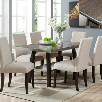 7 pc Olsen brown rustic wood finish dining table set with upholstered chairs