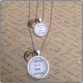 Mommy And Me Jewelry, Mother Daughter, I Love You To The Moon And Back, Mom And Me Necklaces, Mother's Day Gift, PennyWhistle