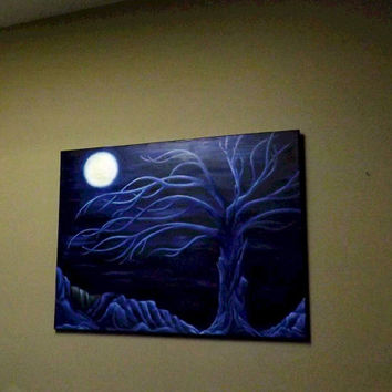 "Original Surrealist,contemporary Oil Painting  on stretched canvas. "" Blue Night"".Signed, By Artist."