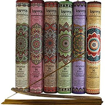 Premium Incense Sticks, Lavender, Sandalwood, Jasmine, Patchouli, Rose, Vanilla, Variety Gift Pack 180 Stciks Includes a Holder in Each Box