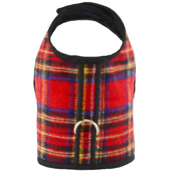 Red Tartan Plaid Bushed Cotton Flannel Dog Cat Vest Harness