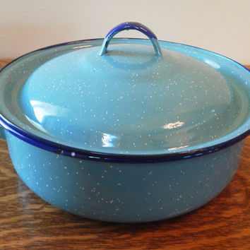 Enamel Dutch Oven Pot Blue, Enamelware, Graniteware