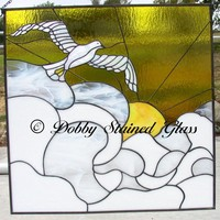 Stained Glass Panel Dove in Sunrise on Handmade Artists' Shop