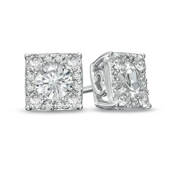 Lab-Created White Sapphire Composite Square Stud Earrings in Sterling Silver - Brilliant Buys - Zales
