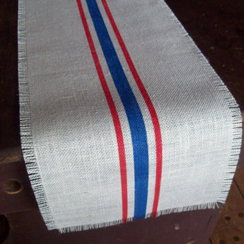 Burlap Table Runner 10 x 48 with Red and Blue Stripes - Memorial Day Table Runner - Patriotic Table Runner - Grain Sack Table Runner